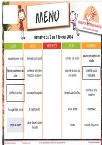 menus du 3 au 7 février