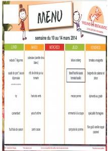 Menus du 10 au 14 Mars 2014