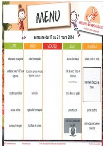 Menus du 17 au 21 Mars 2014