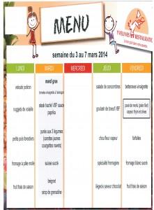 Menus du 3 au 7 Mars 2014